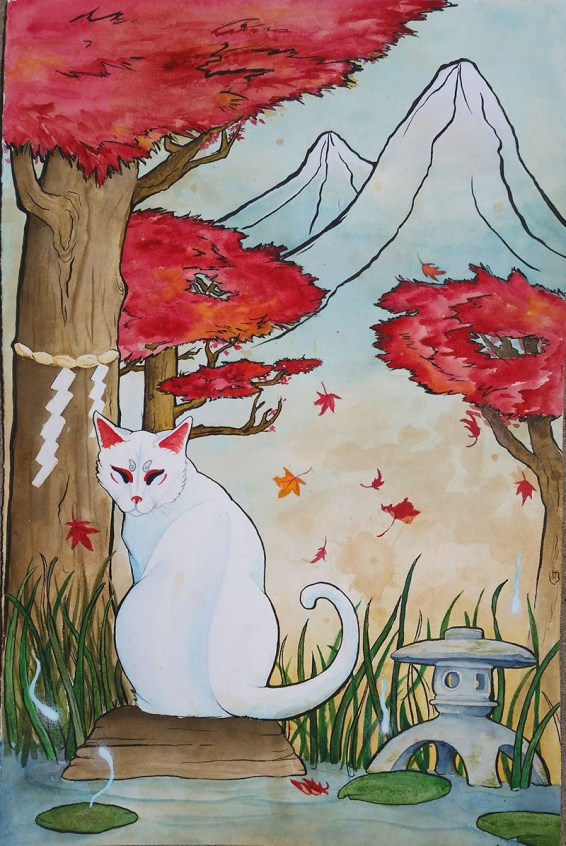 #WorldWatercolorGroup - Watercolor painting - Asian inspired white cat - by Taylor Barton - Doodlewash