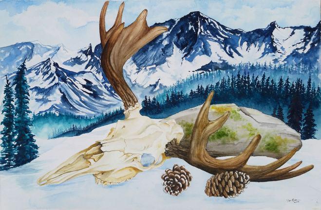 #WorldWatercolorGroup - Watercolor painting - skull - by Taylor Barton - Doodlewash