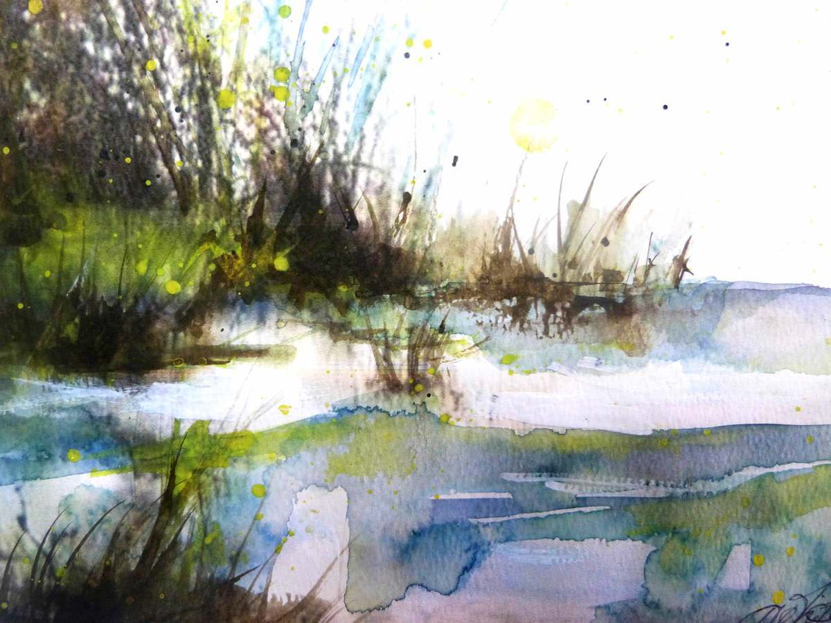 #WorldWatercolorGroup - 'A Day by the River' by Di White - Doodlewash