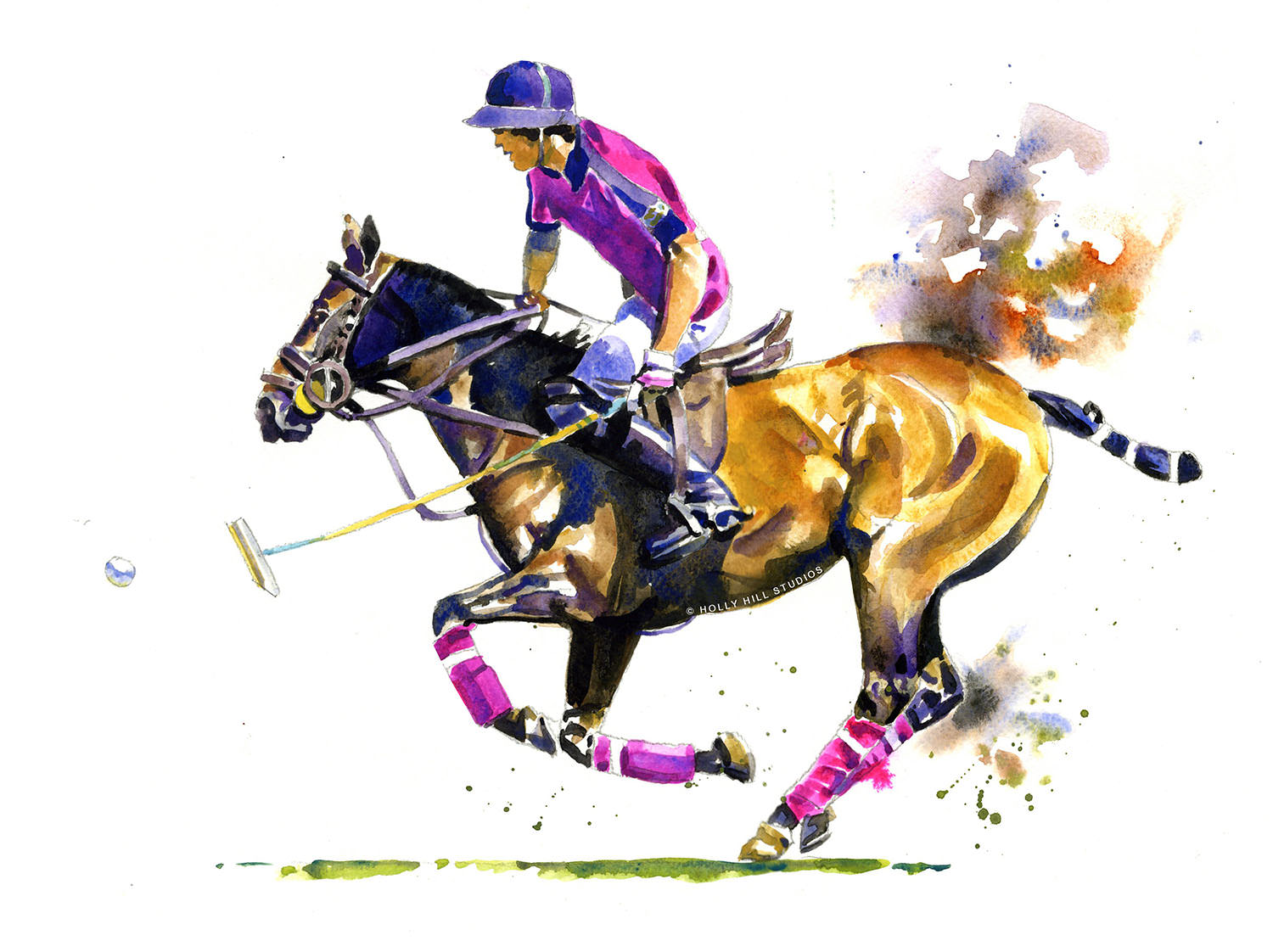 #WorldWatercolorGroup - Polo - horse and rider - Watercolour by Tim Olden - Doodlewash