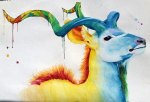 """""""Flicker"""" Watercolor on paper, 24×36. This piece is my artistic brand's masco"""