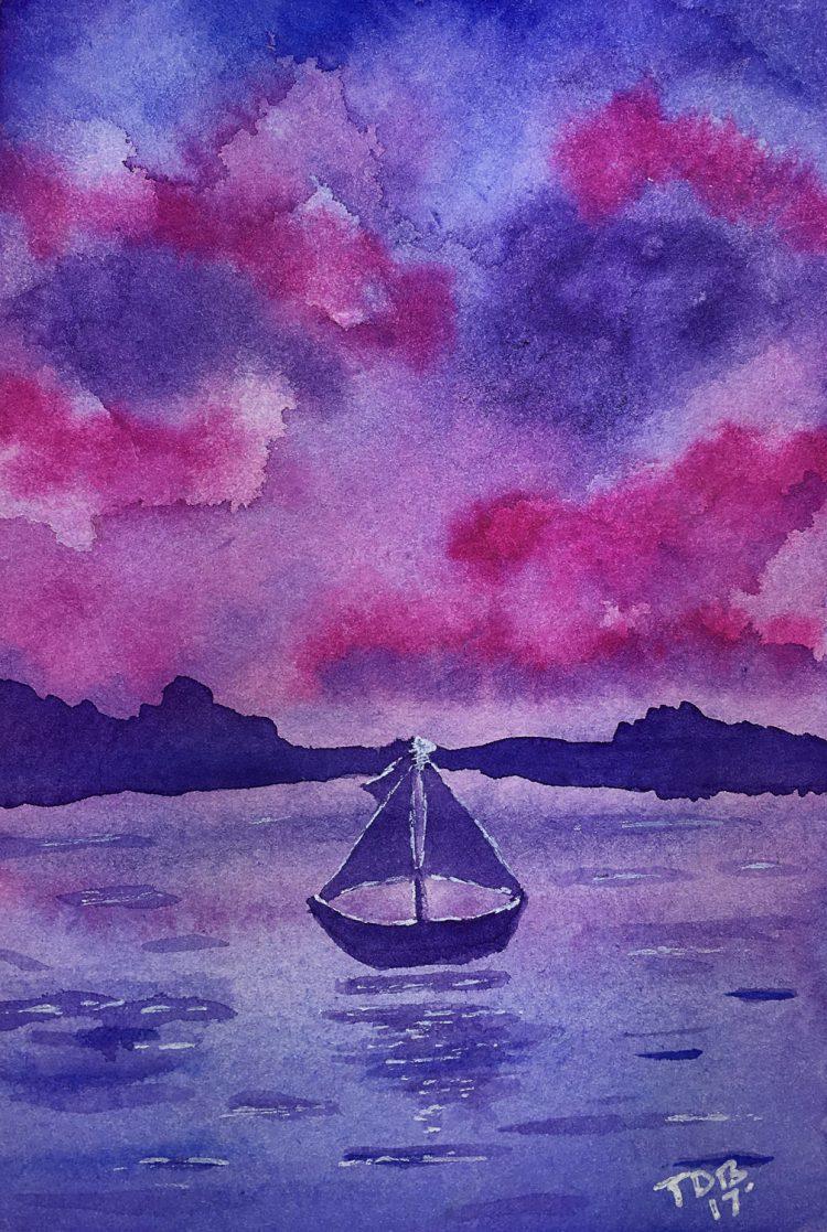 "Sunset Sail – 5"" x 7"" watercolor #worldwatercolorgroup #tdbdraw #stormysky #watercolor #su"