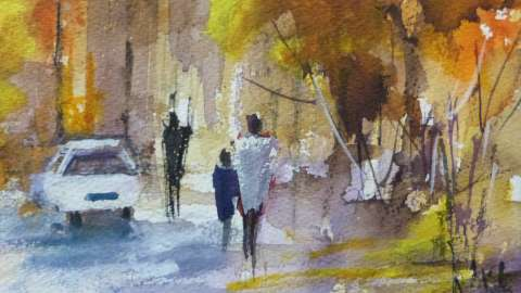 #WorldWatercolorGroup - 'Street Scene Stellenbosch' by Di White - Doodlewash