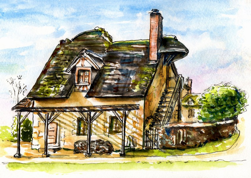 World Watercolor Group - Day 12 - My Favorite Building - French Cottage - Doodlewash