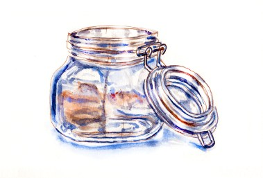 World Watercolor Group - Day 17 - My Favorite Colors - Glass Jar - Doodlewash