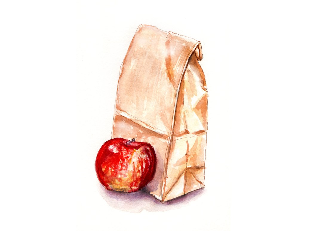 #WorldWatercolorGroup - Day 19 - My Favorite Lunch - Sack Lunch With Apple - Doodlewash