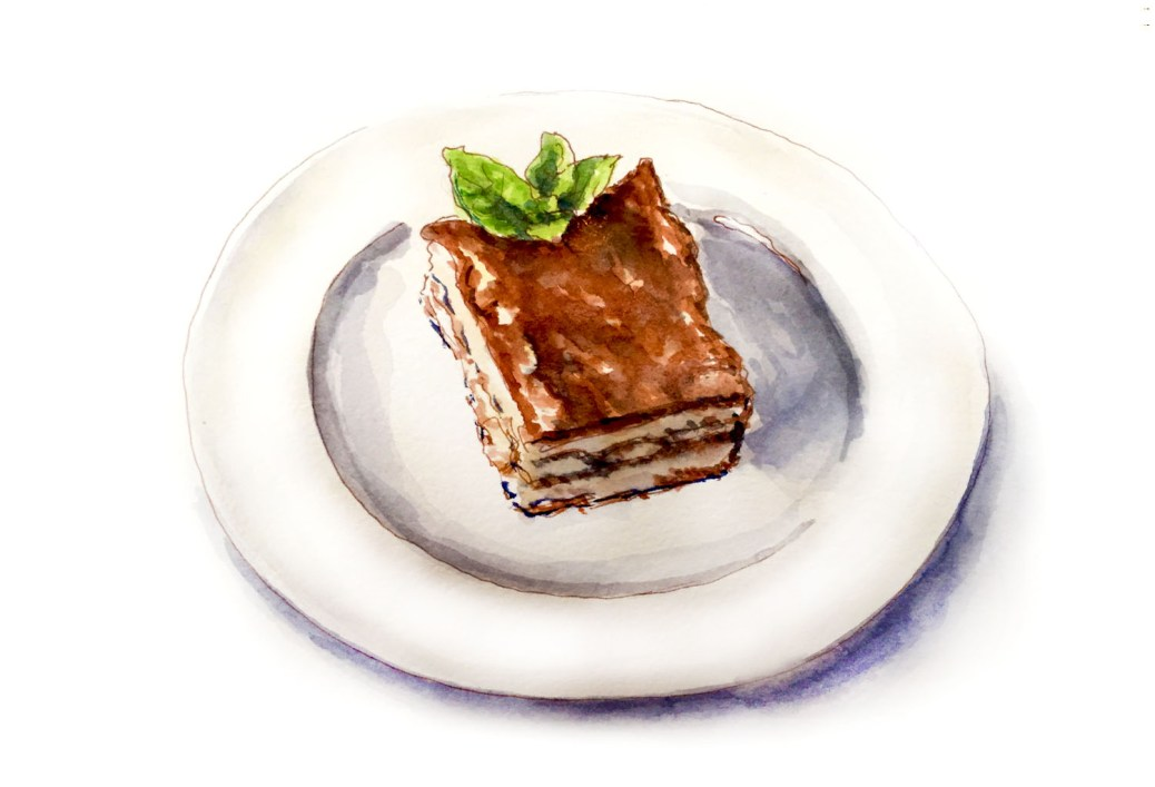 #WorldWatercolorGroup - Day 27 - My Favorite Dinner - Dessert Tiramisu - Doodlewash