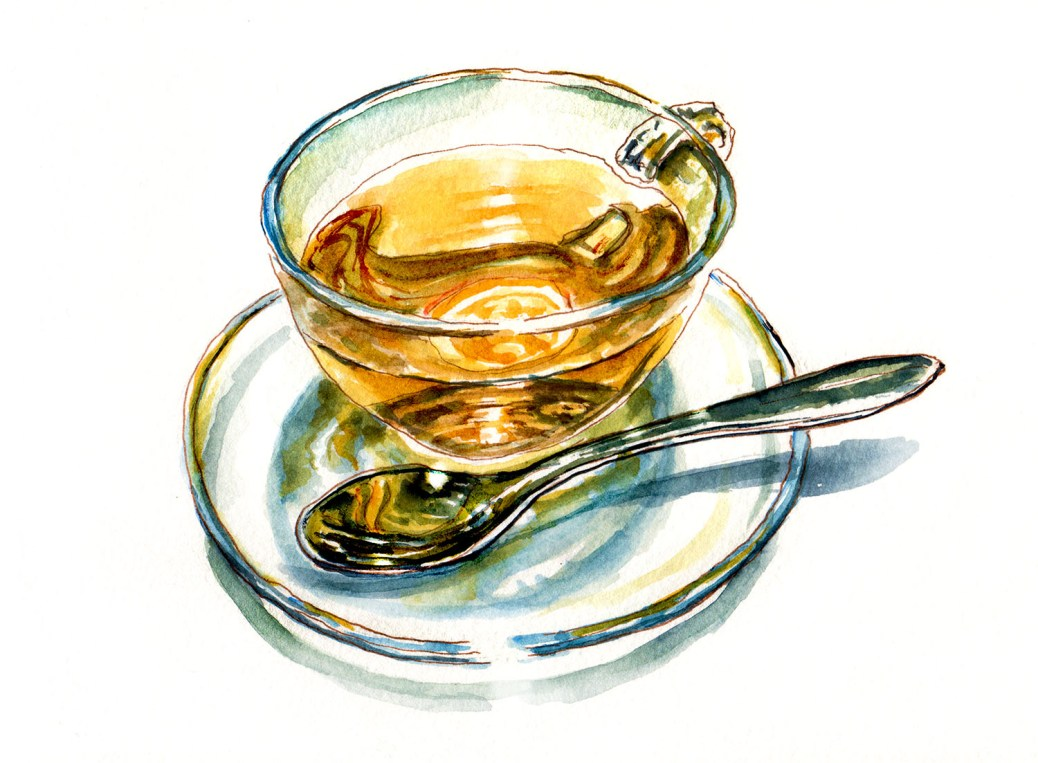 #WorldWatercolorGroup - Day 31 - My Favorite Moment - Cup Of Tea And Spoon- Doodlewash