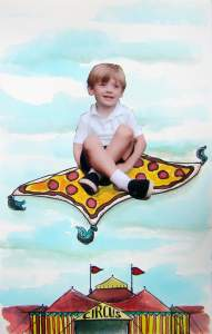 Flying high on his magic pizza carpet with extra cheese of course! Za-boy and his pizza carpet by sa