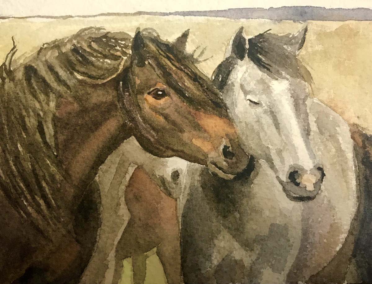 #WorldWatercolorGroup - Watercolor by Brittany Lane Allen - horses - Doodlewash