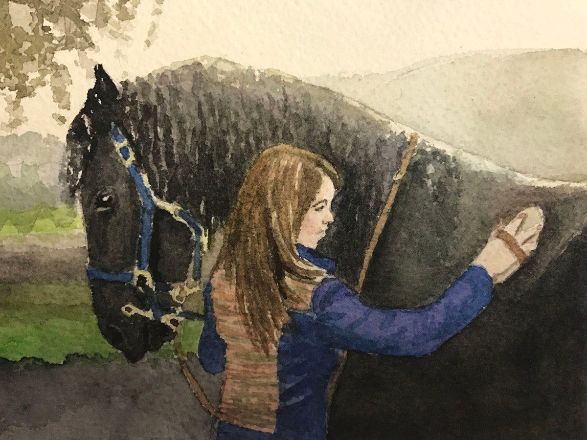 #WorldWatercolorGroup - Watercolor by Brittany Lane Allen - girl and horse - Doodlewash