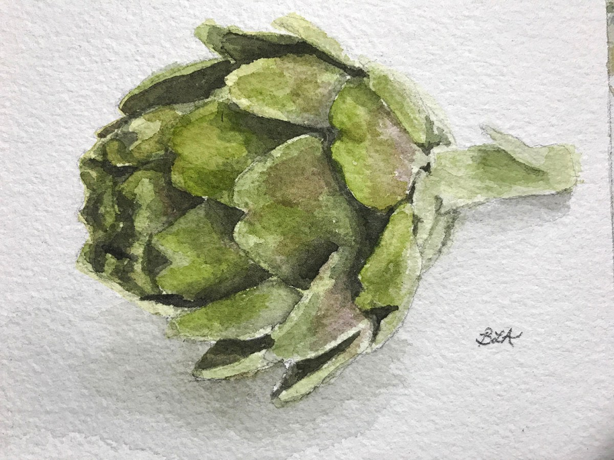 #WorldWatercolorGroup - Watercolor by Brittany Lane Allen - artichoke - Doodlewash