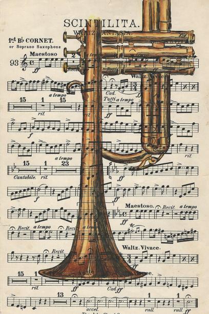 #WorldWatercolorGroup - Watercolor by Rebecca Rhodes - trumpet sheet music - Doodlewash