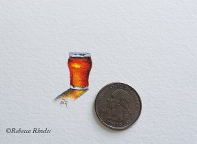 #WorldWatercolorGroup - Watercolor by Rebecca Rhodes - tiny beer - Doodlewash