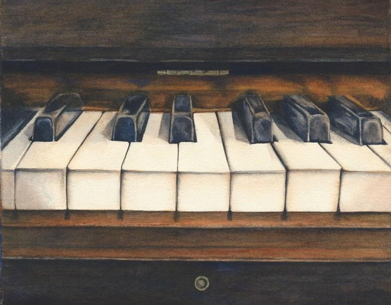 #WorldWatercolorGroup - Watercolor by Rebecca Rhodes - vintage piano - Doodlewash