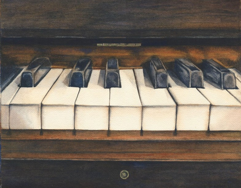 #WorldWatercolorGroup - Watercolor by Rebecca Rhodes - vintage piano - Doodlewash