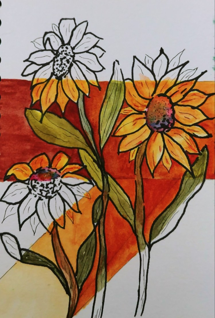 Making your typical flower painting unexpected. 20170904_092740-1