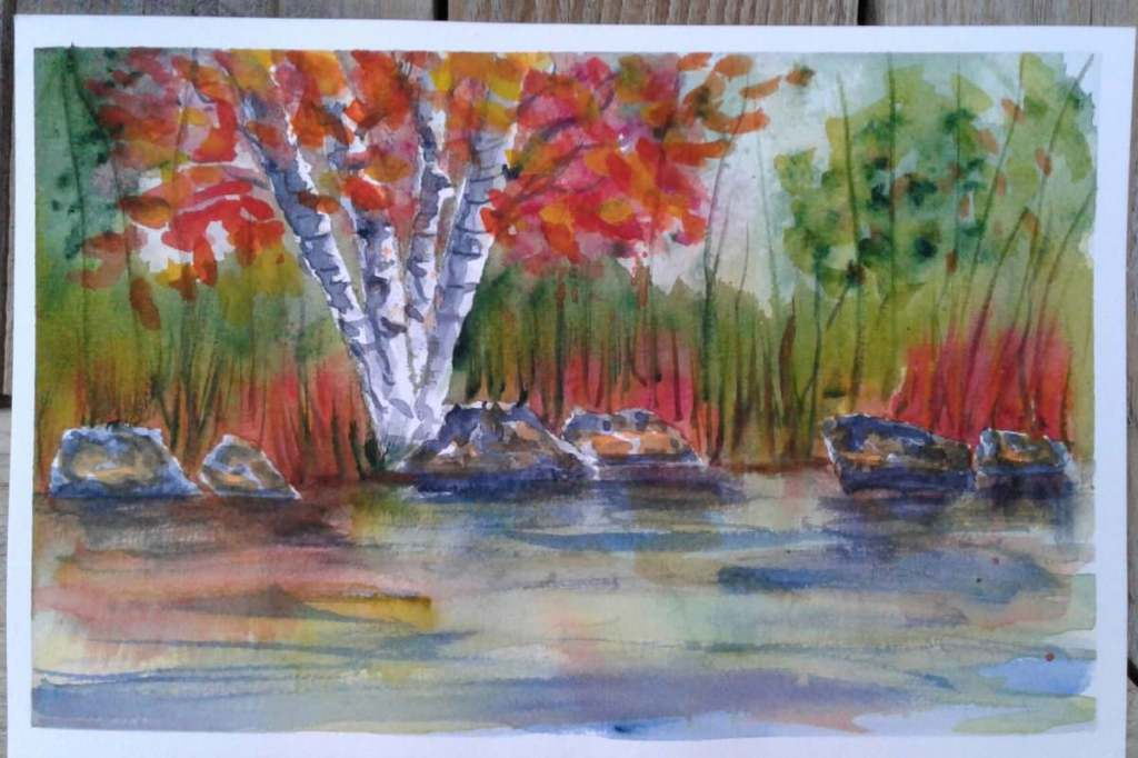Day 87…Autumn lake. I browsed through Lindsay Weirich's backlog of videos and watched th