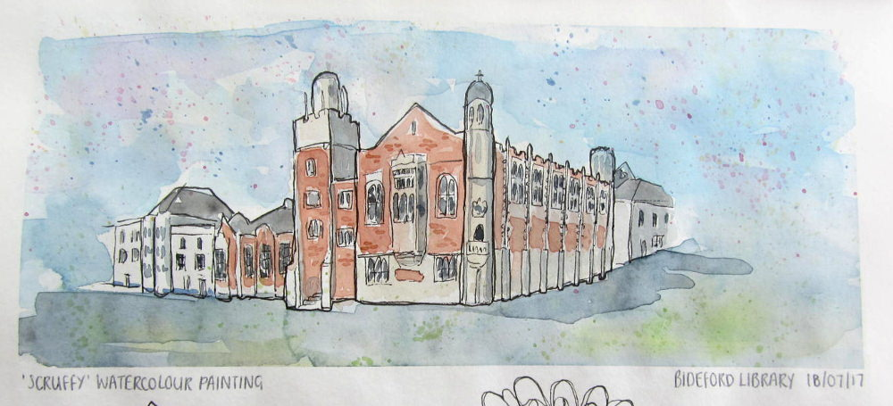 #WorldWatercolorGroup - Watercolour illustration by Clare Willcocks - Bideford Library - Doodlewash
