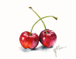 """""""Cherries In Love"""", review of Winsor & Newton Product won on Doodlewash here. (goo.g"""