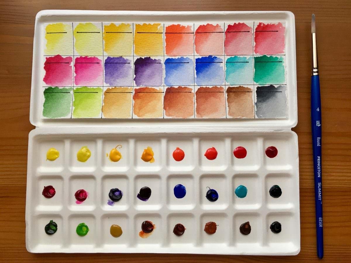 Da Vinci watercolor dot card, dot palette swatch