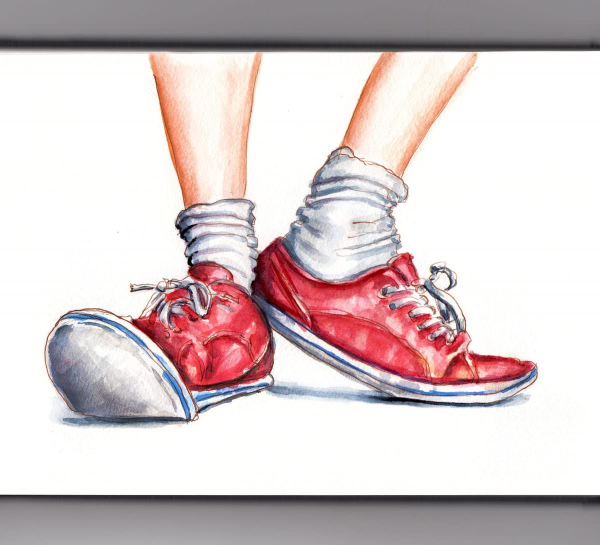 #WorldWatercolorGroup - Day 19 - A Fresh Pair Of Socks - Red Sneakers - Doodlewash