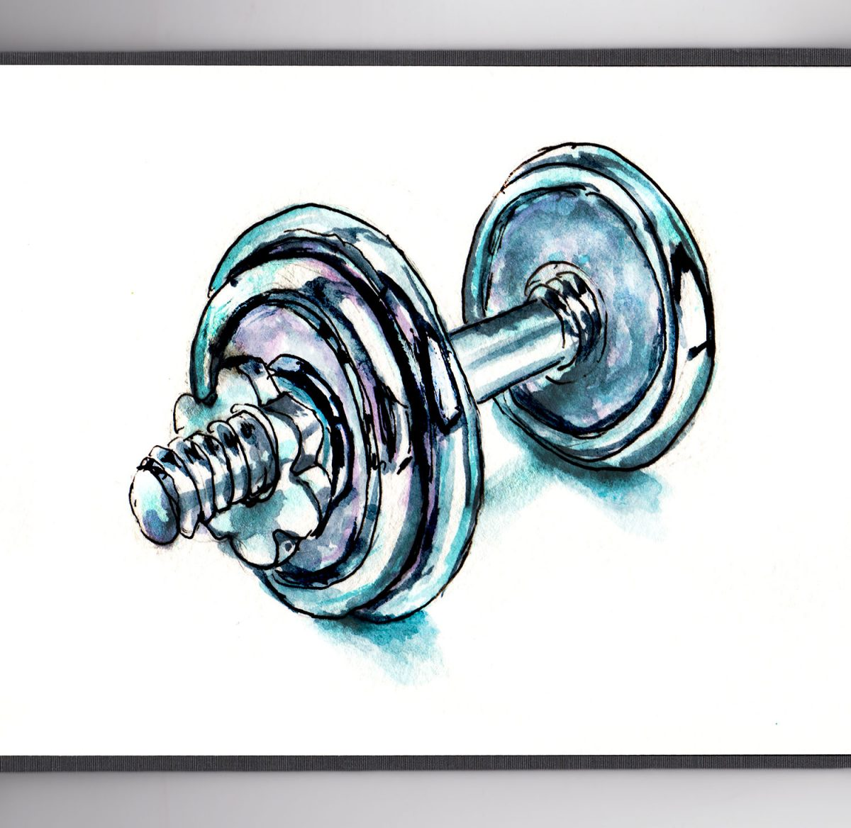 #WorldWatercolorGroup - Day 24 - Doing A Bit Of Exercise - Chrome Dumbbells - Doodlewash