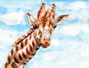 Day 30 - Watching Clouds Float By Giraffe Watercolor