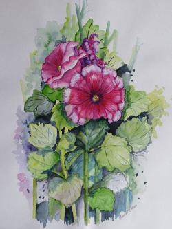 #WorldWatercolorGroup - Blooming Holly Hocks Watercolour Painting - Saswati Chakraborty - Doodlewash