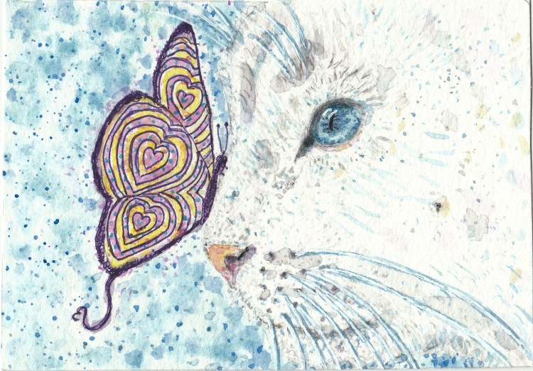 Snowflake white cat butterfly watercolor painting IMG_20170910_0001