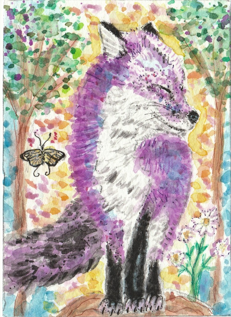 Purple fox watercolor aceo painting IMG_20170912_0001