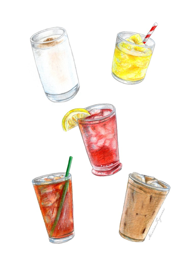 A cool variety of Summer drinks painted on Canson Mix Media paper using watercolors, colored pencils