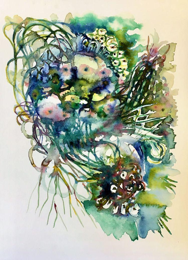"""Sunday's Garden"" #worldwatercolorgroup, #charlesray, #jardin, #garden, #fluer, #f"