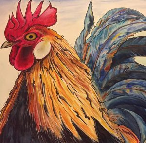I painted this rooster from a picture my Mom sent me. I then came in a doodled afterwards. challenge