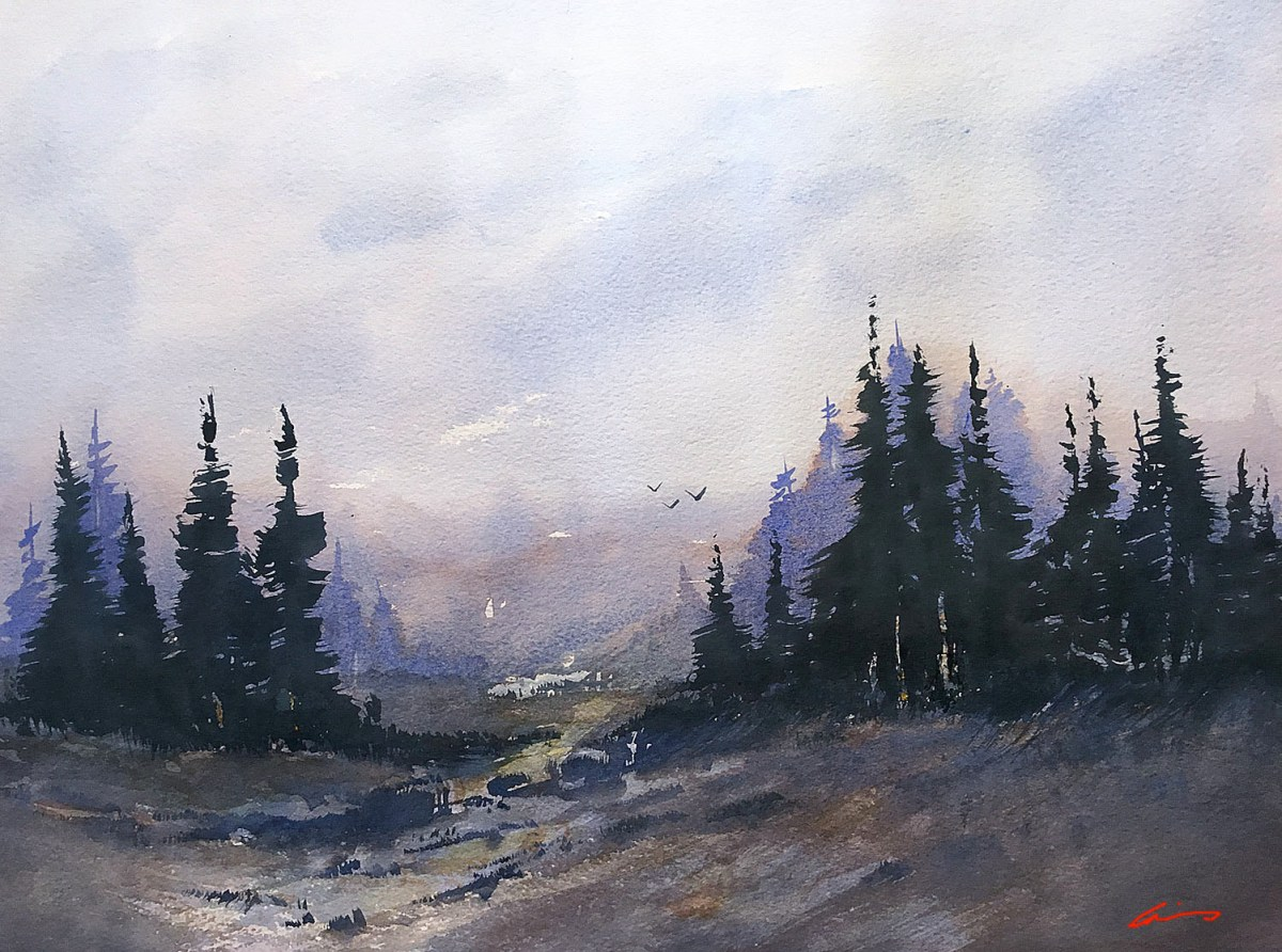 #WorldWatercolorGroup - Watercolor by Posey Gaines - Valley Fog - Doodlewash