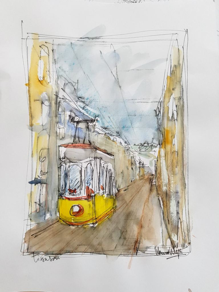 I visit Lissabon this year…….the famous yellow tram in a 10 minutes sketch with pen and