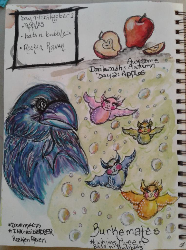 Day 94…apples, bats n bubbles, rockin raven. Day 2 of #inktober was too much fun. I used my fa