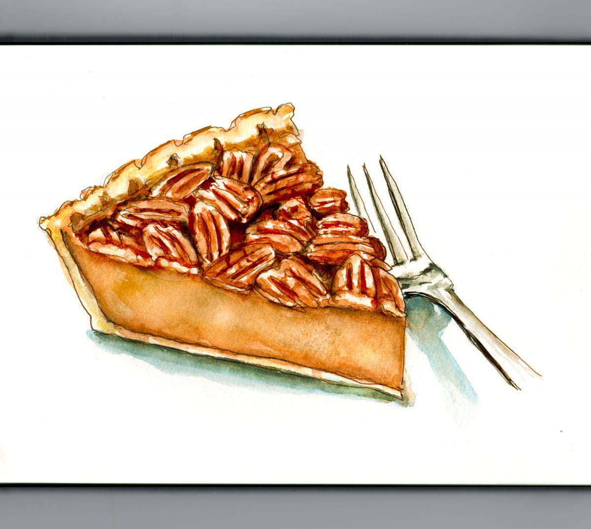 #WorldWatercolorGroup - Day 17 - Pecan Pie - Doodlewash