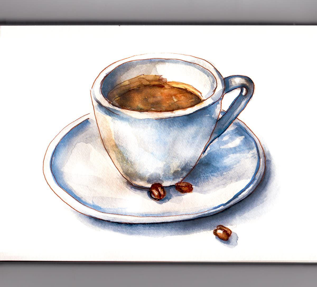 #WorldWatercolorGroup - Day 5 - Espresso On A Foggy Day - Doodlewash