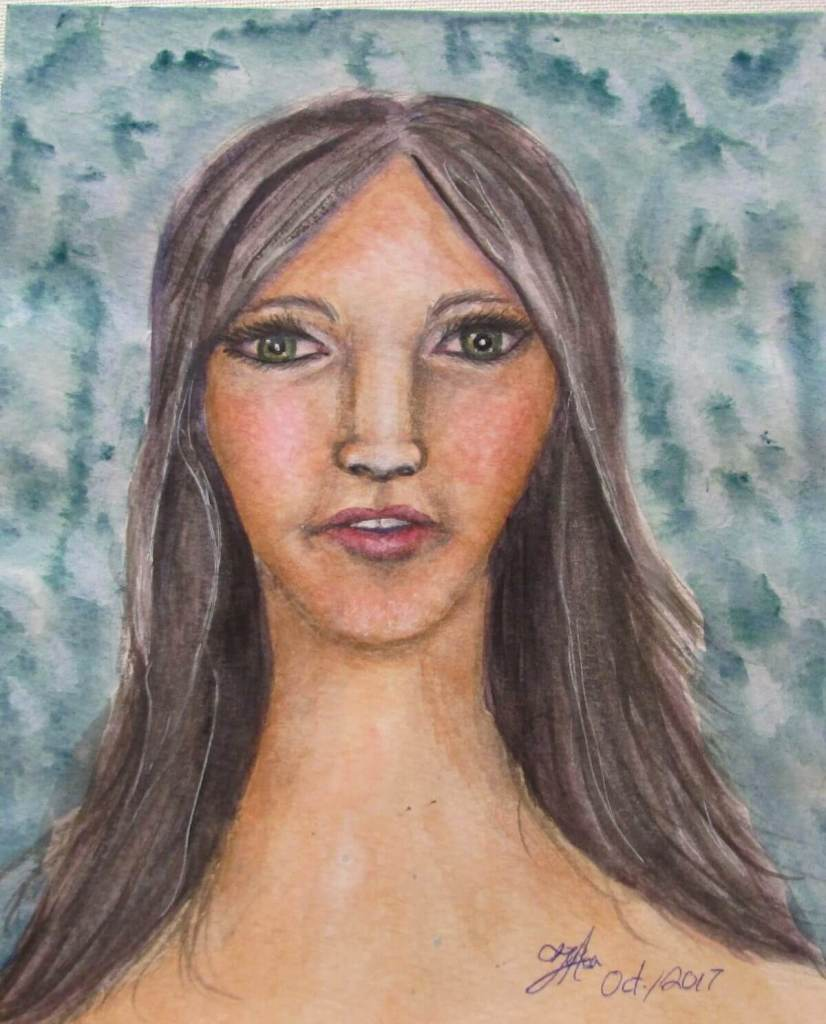My first attempt at painting a face in water colour. IMG_1046