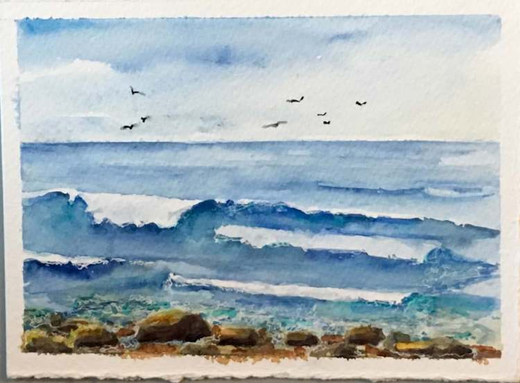 Spent the day at the beach with my son. While he rode the waves I tried to paint them. Both are diff