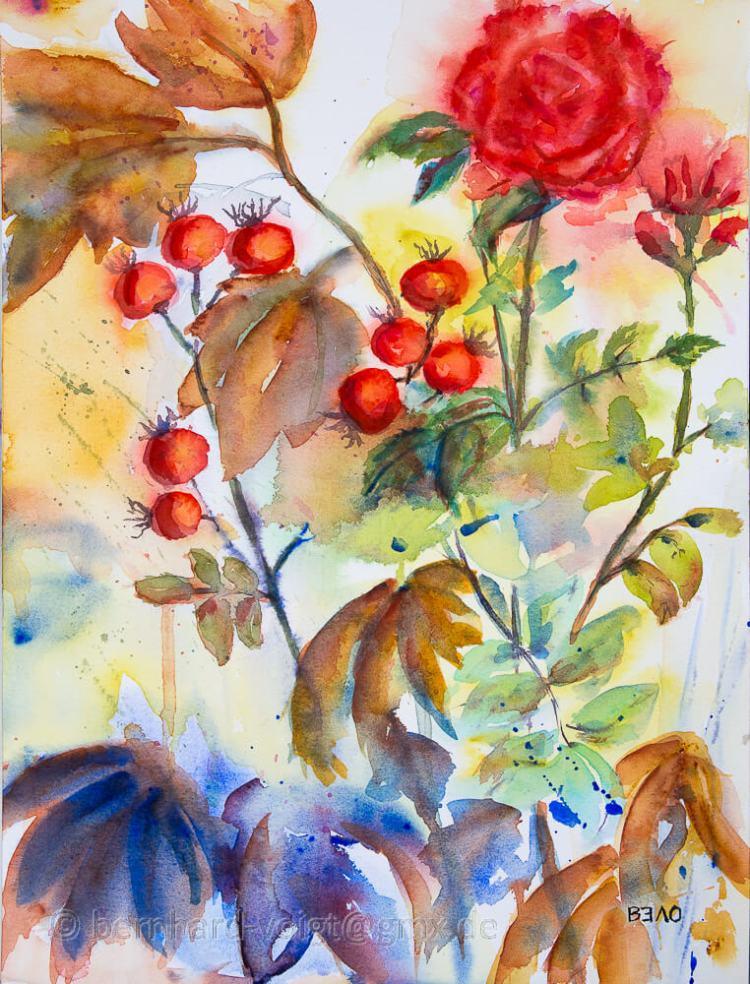 Herbststimmung mit Hagebutten II – Autumn mood with rose hips II Aquarell, Büttenpapier, fein