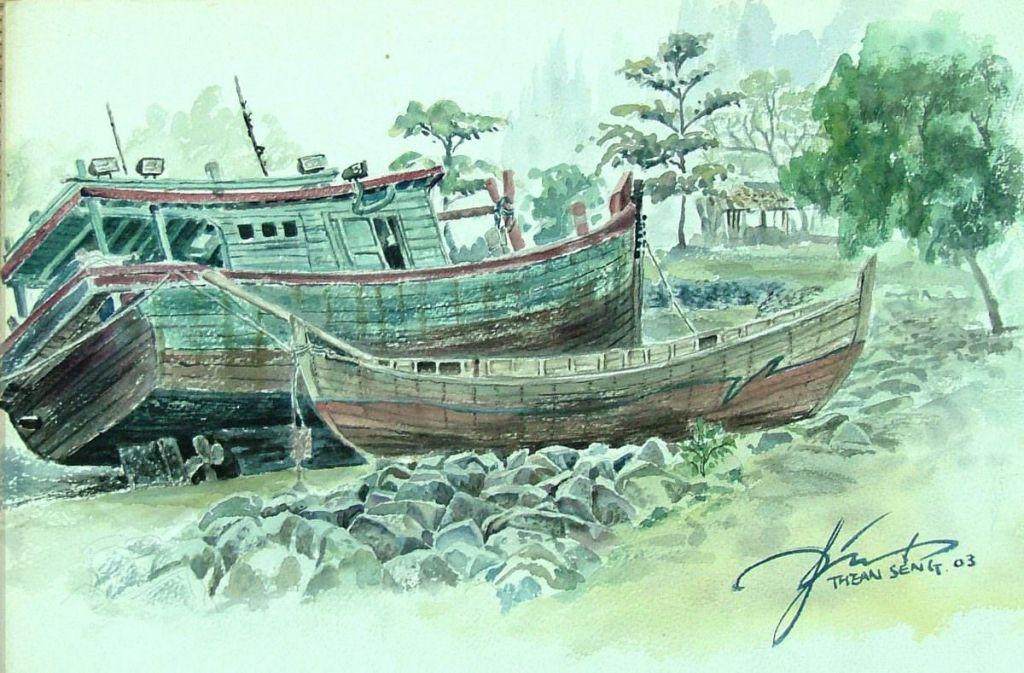1_梦乡_Dream a wonderful dream in peaceful 38cm x 56cm watercolor 2007brocken boat 2IMG_3941right