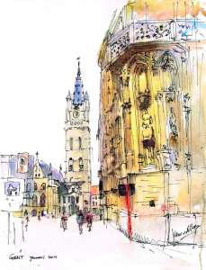 Gent, Belfort (Belgium) pen and watercolor 20×30 cm gent1
