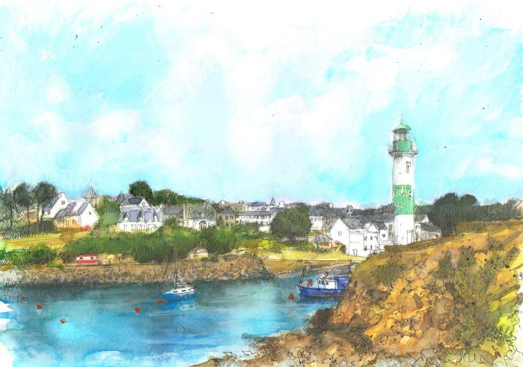 Brittany, Ile de Groix, pen and watercolor 40×30 cm illdegroix