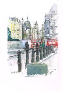 London City, december, pen and watercolor 20×30 cm london1