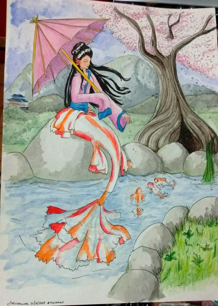 A Koi mermaid One of the few illustrations I made with watercolour paper, because its too expensive