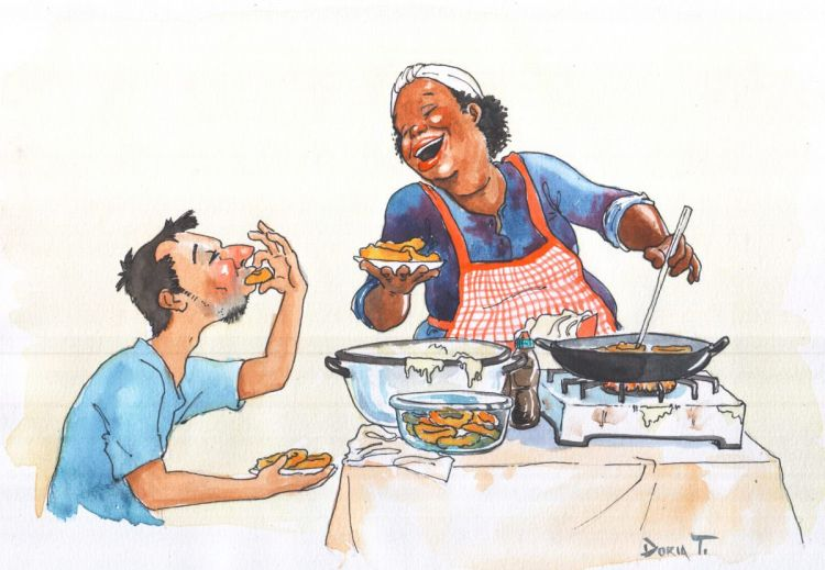 """""""La picaronera"""" this caricature represents a traditional street food seller in Lima-Peru"""