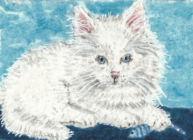 Pearl fluffy kitten cat watercolor painting ACEO popop