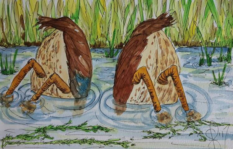 """Off the subject of Christmas cards for a minute and post a couple of """"Bobbers"""". Artist S"""